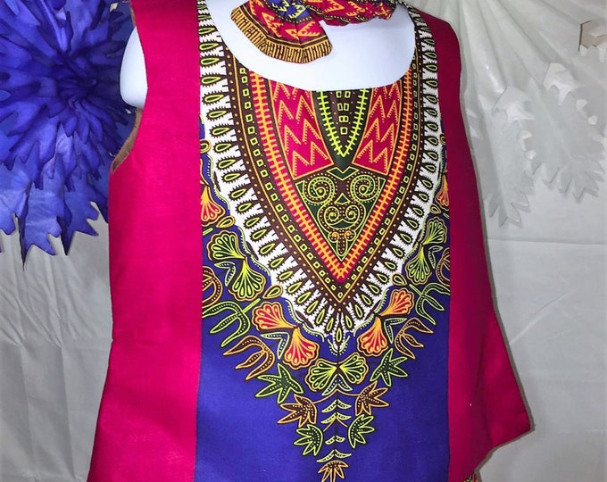 Baby Girl Dashiki Set With Head Band And Bloomers