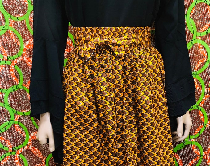 Print Flared Short Skirt With Pockets and Elastic band