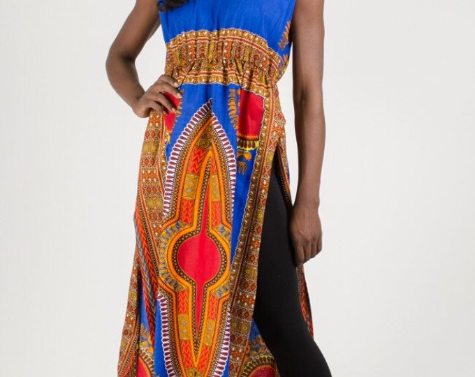 Dashiki Print Sleeveless Duster