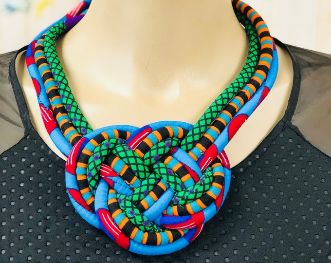 Ankara Rope Statement Necklace