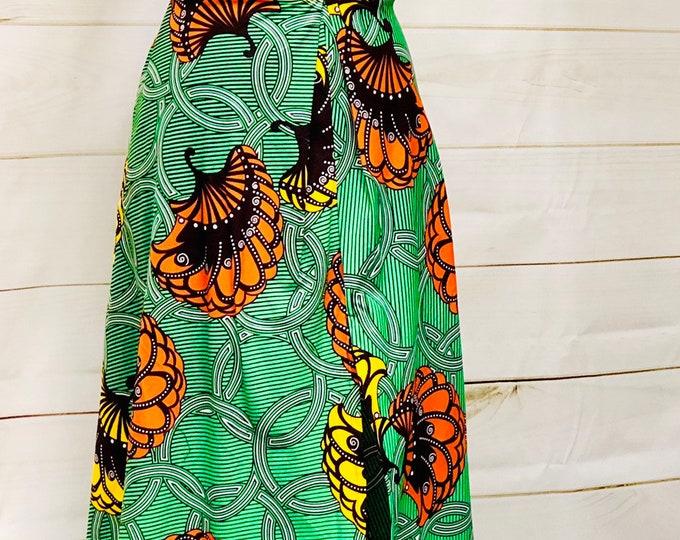 Ankara High Waisted Maxi Skirt with Split