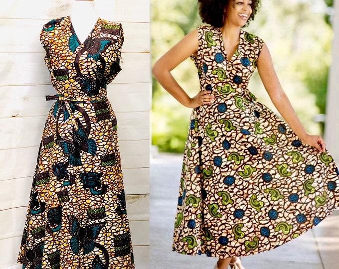 African Print Wrap Dress Sleeveless