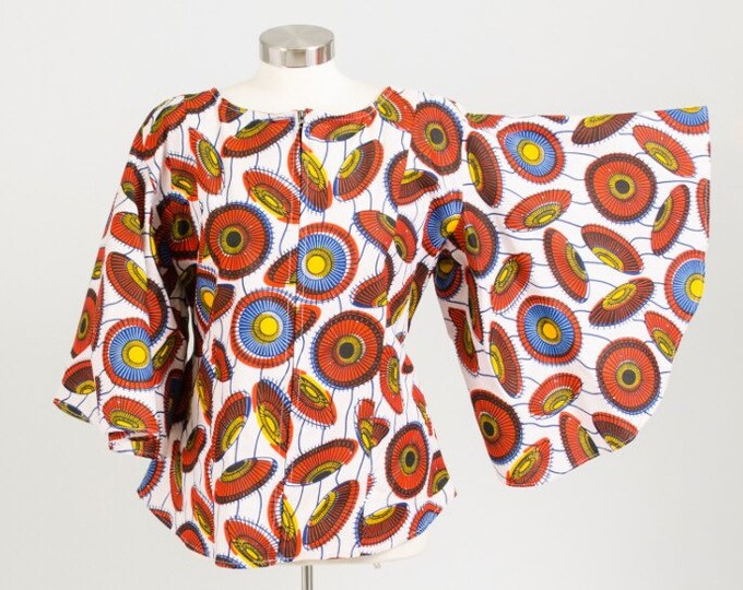 Front Zip African Print Blouse