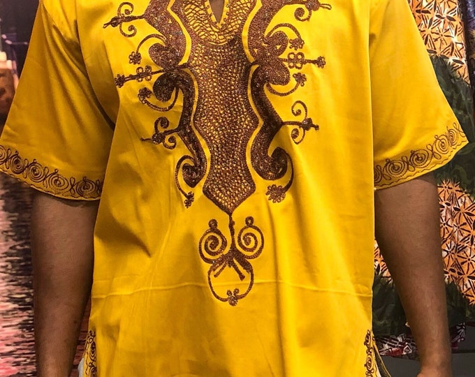 Brown Short Sleeves Embroidery Men's Shirt