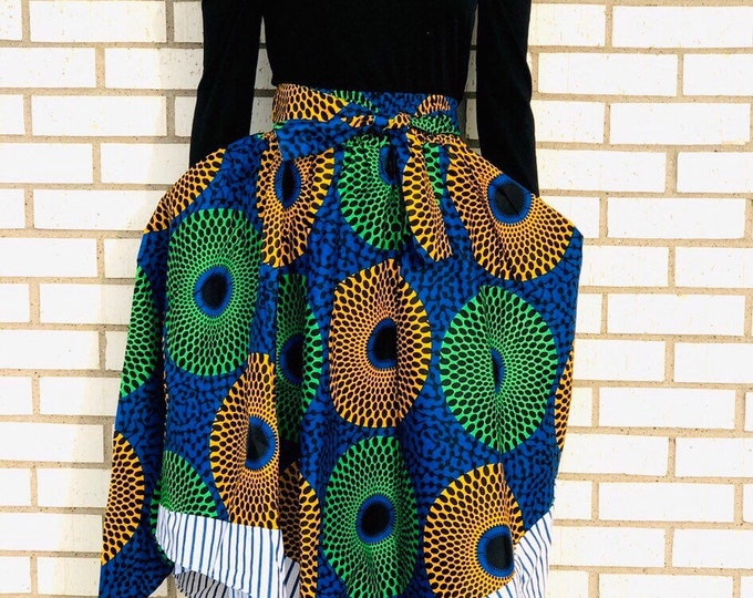 Asymmetrical Strip Trimmed Ankara Maxi Skirt with pockets and headwrap