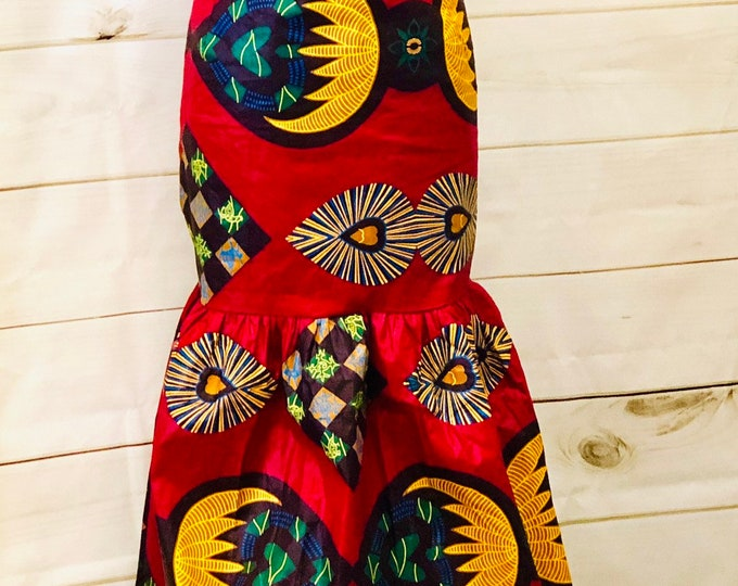 African Heart Print Evening Gown