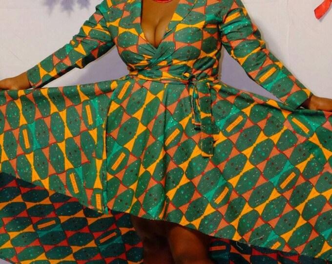 Voluminous Print Wrap Dress with Blet