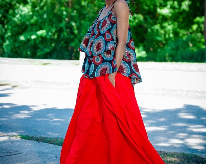 Solid Color Maxi Skirt with Pockets