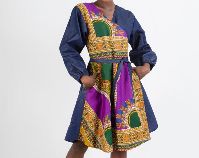 Denim Dashiki Print Wrap Dress