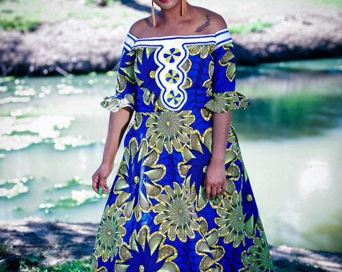Queen Embroidery Fit and Fared Dress