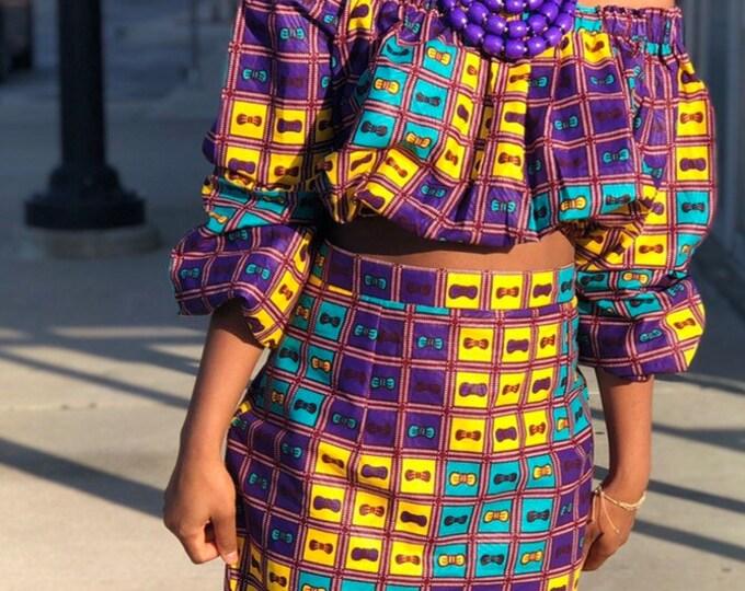 Ankara Crop Top and Fringe Pencil Skirt set