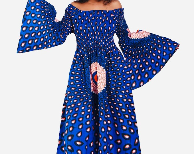 Peacock Fit and Flare Ankara Dress with Headwrap