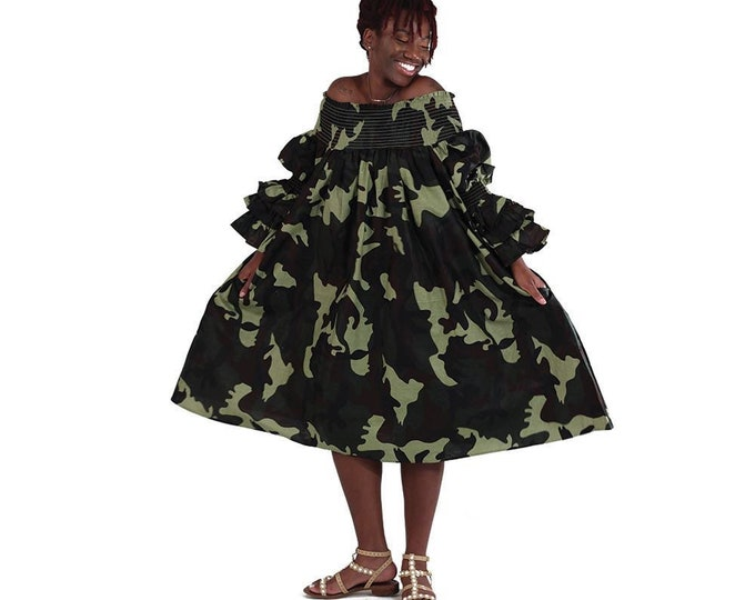 Camo Smocked Dress