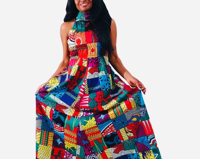 African Mix Print Maxi Dress