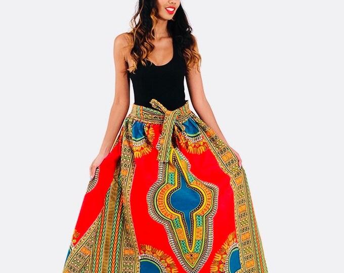 Dashiki Print Maxi Skirt with Pockets