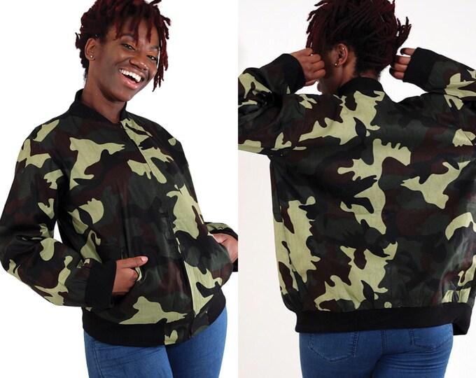 Camo Bomber Print Jacket