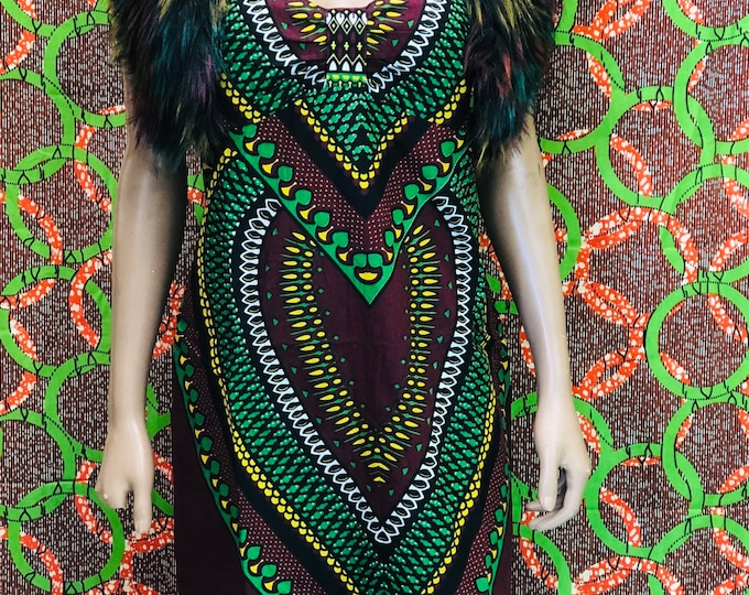 Africa Heart Dashiki Halter Dress