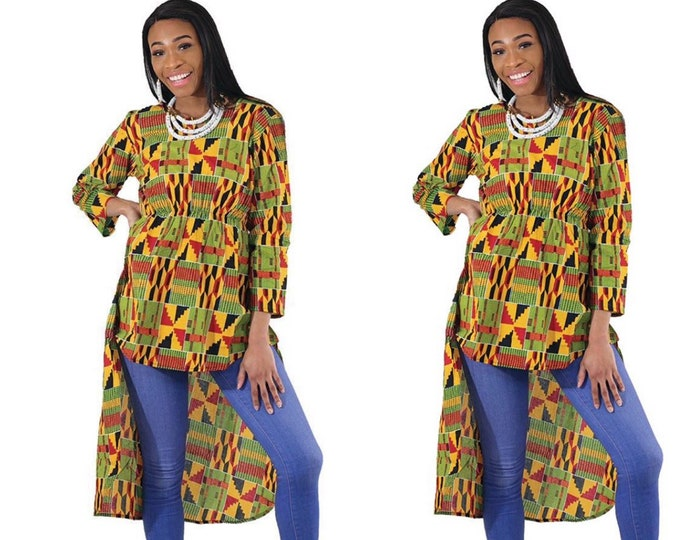 High-low Ankara Blouse with Elastic