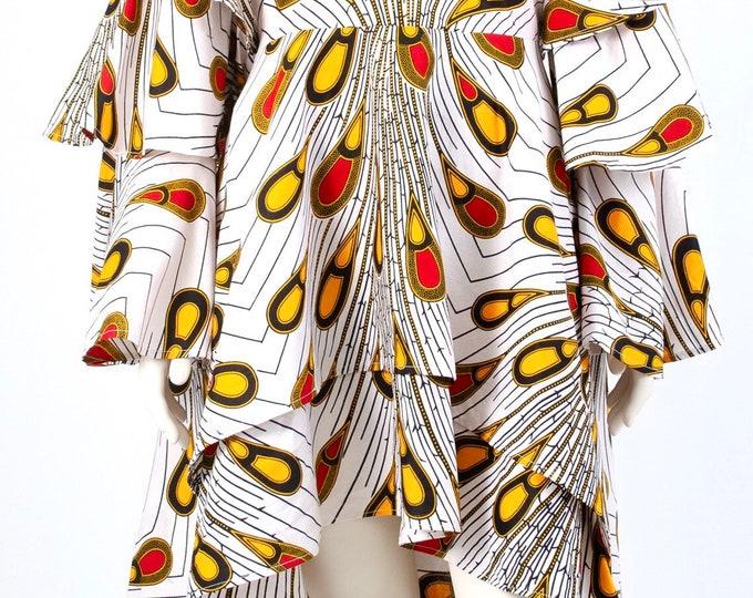 High Low Ankara Tier Sleeves Dress