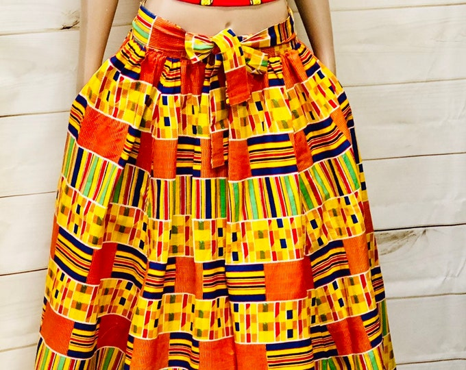 Classic Kente Maxi Skirt with Pockets an headwrap