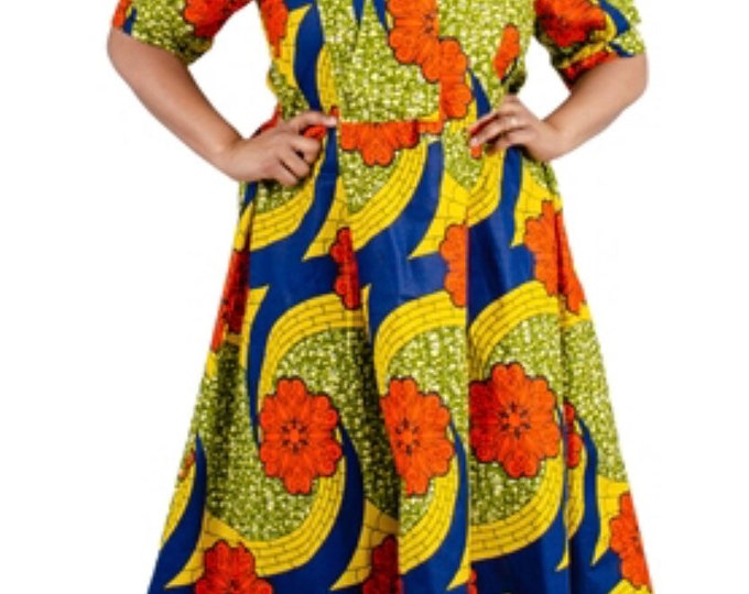 Ankara Front Tie Bow Dress