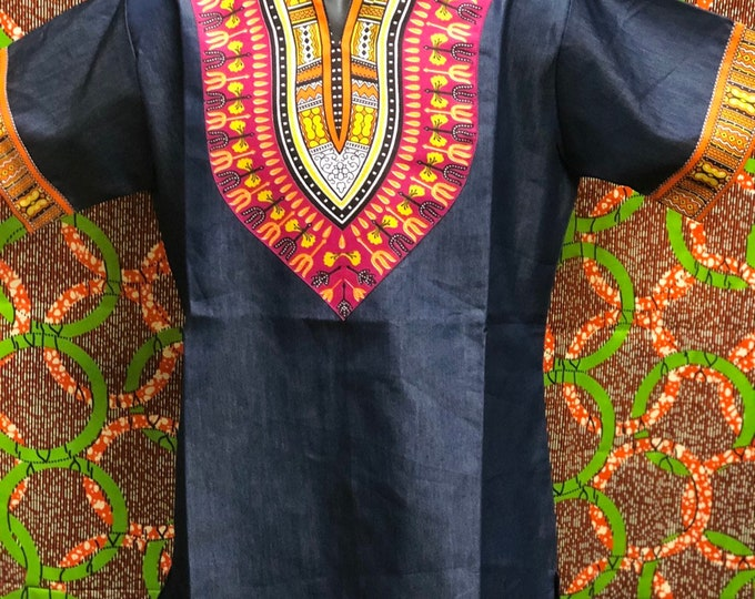 Denim and Kente Dashiki