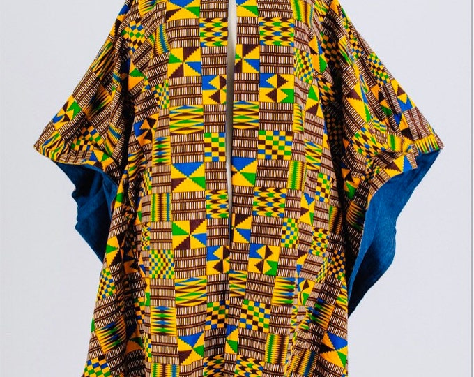 Denim Lined Ankara Poncho Duster