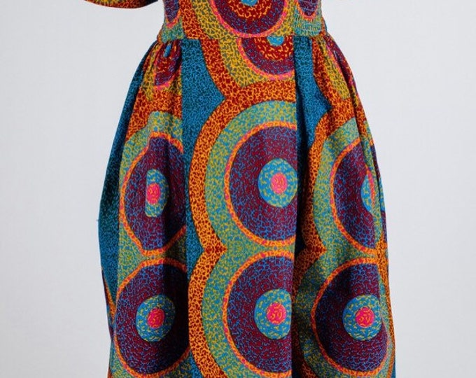 Ankara Smocked Dress with Flower