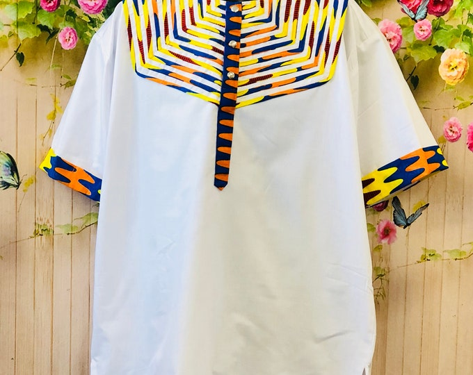 African Print Button Up Dress Shirt
