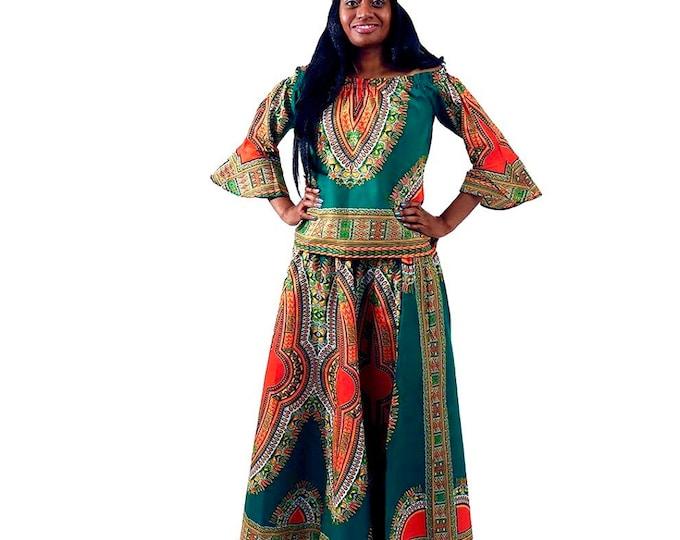 Dashiki Top and Skirt Set