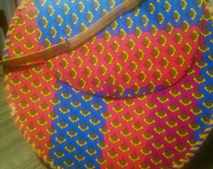 Ankara and leather messager bag.
