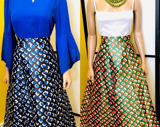 Ankara maxi skirt with belt
