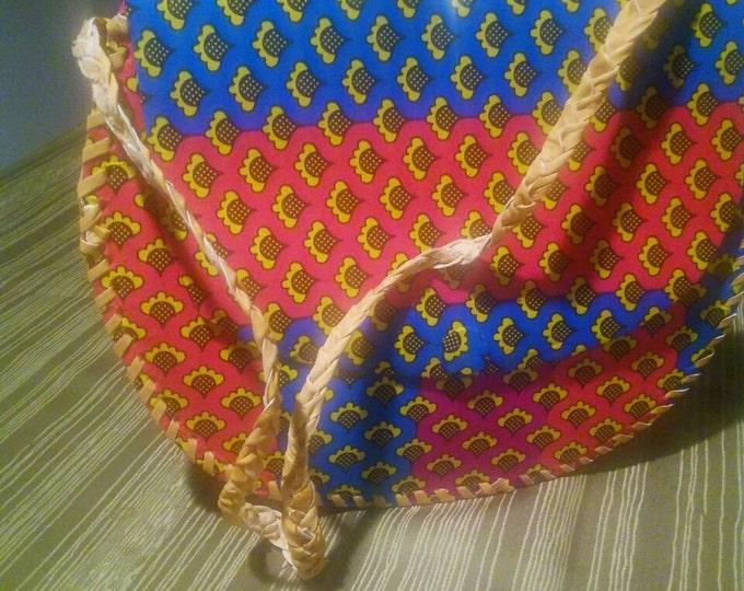 Ankara and leather medium messager bag