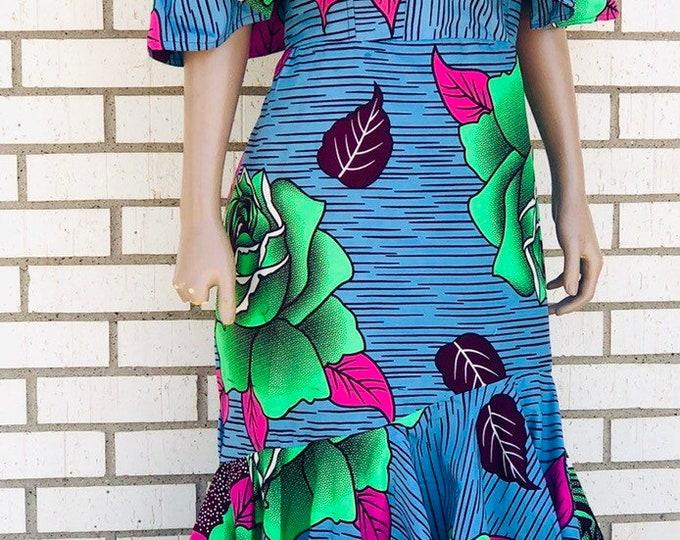 Off-the Shoudler Ankara Ruffled Dress