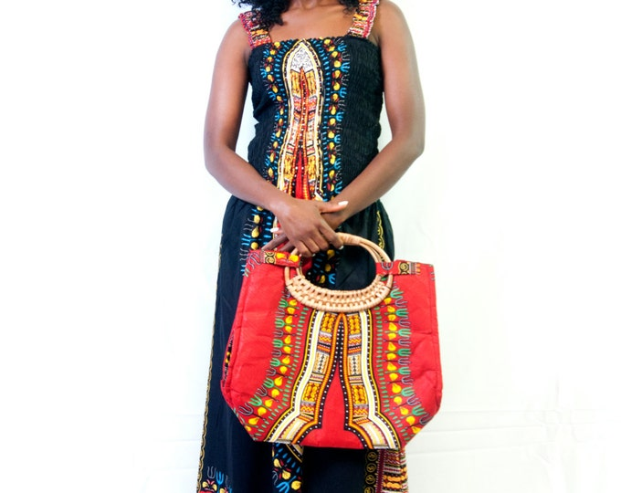 African Print Wicker Handle Bag