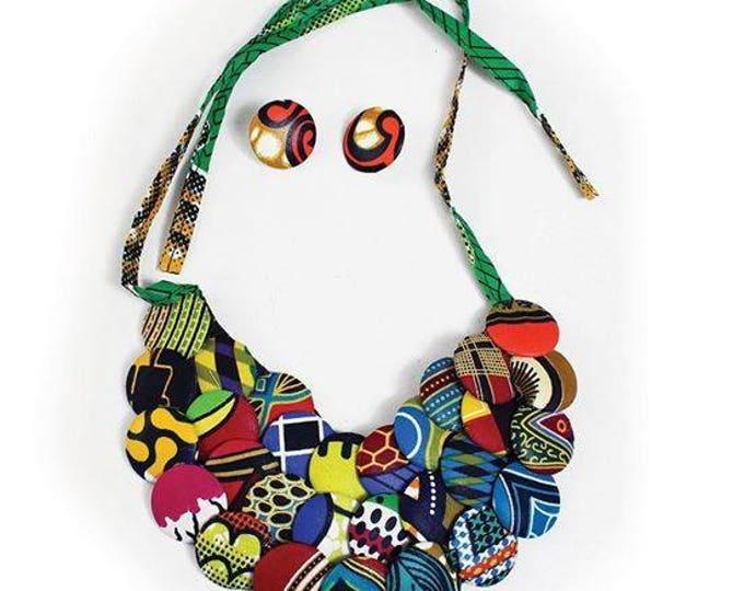 Ankara Button Bib Necklace set