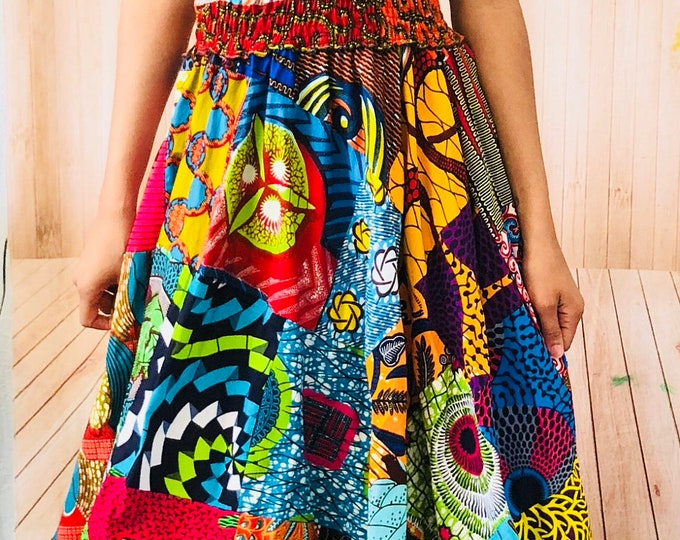 Ankara Patch Print Maxi Dress