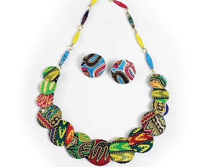 Ankara Button Necklace set