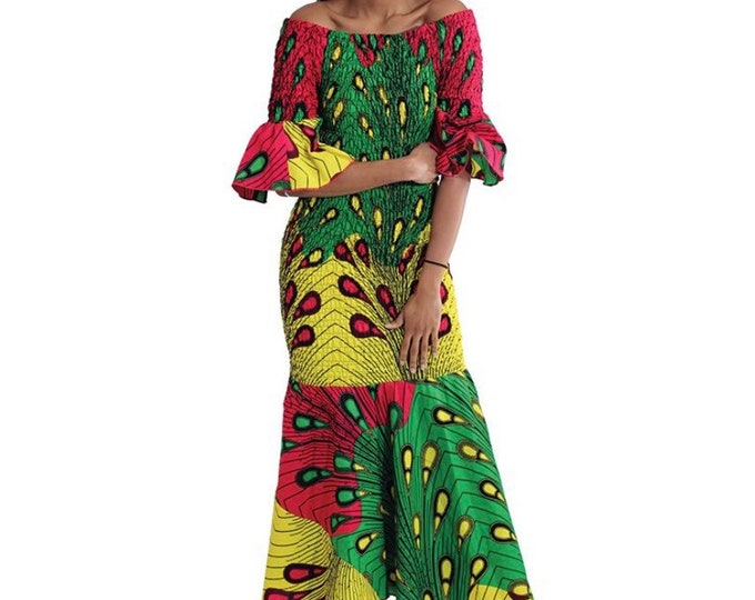 Ankara Off the Shoulder Fitted Dress