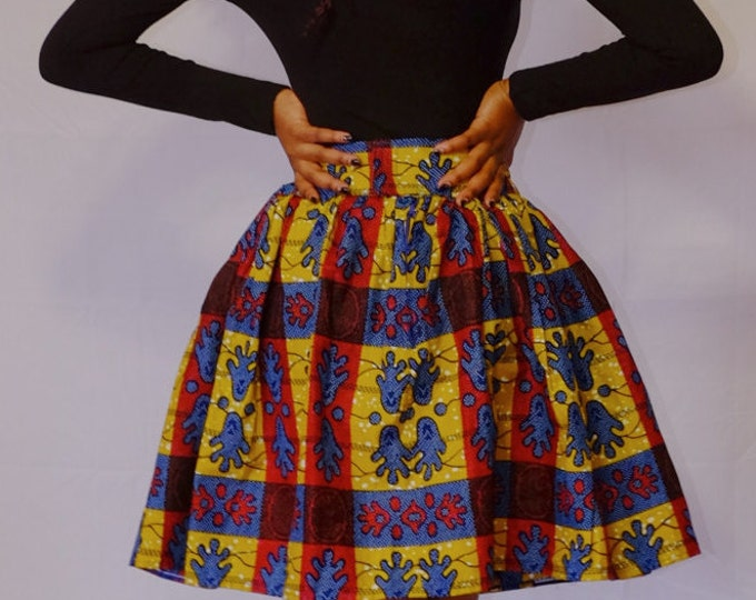 Ankara Flared Short Skirt With Pockets
