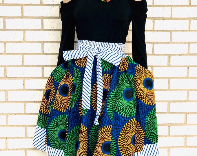 Strip Trimmed Ankara Maxi Skirt with pockets and headwrap