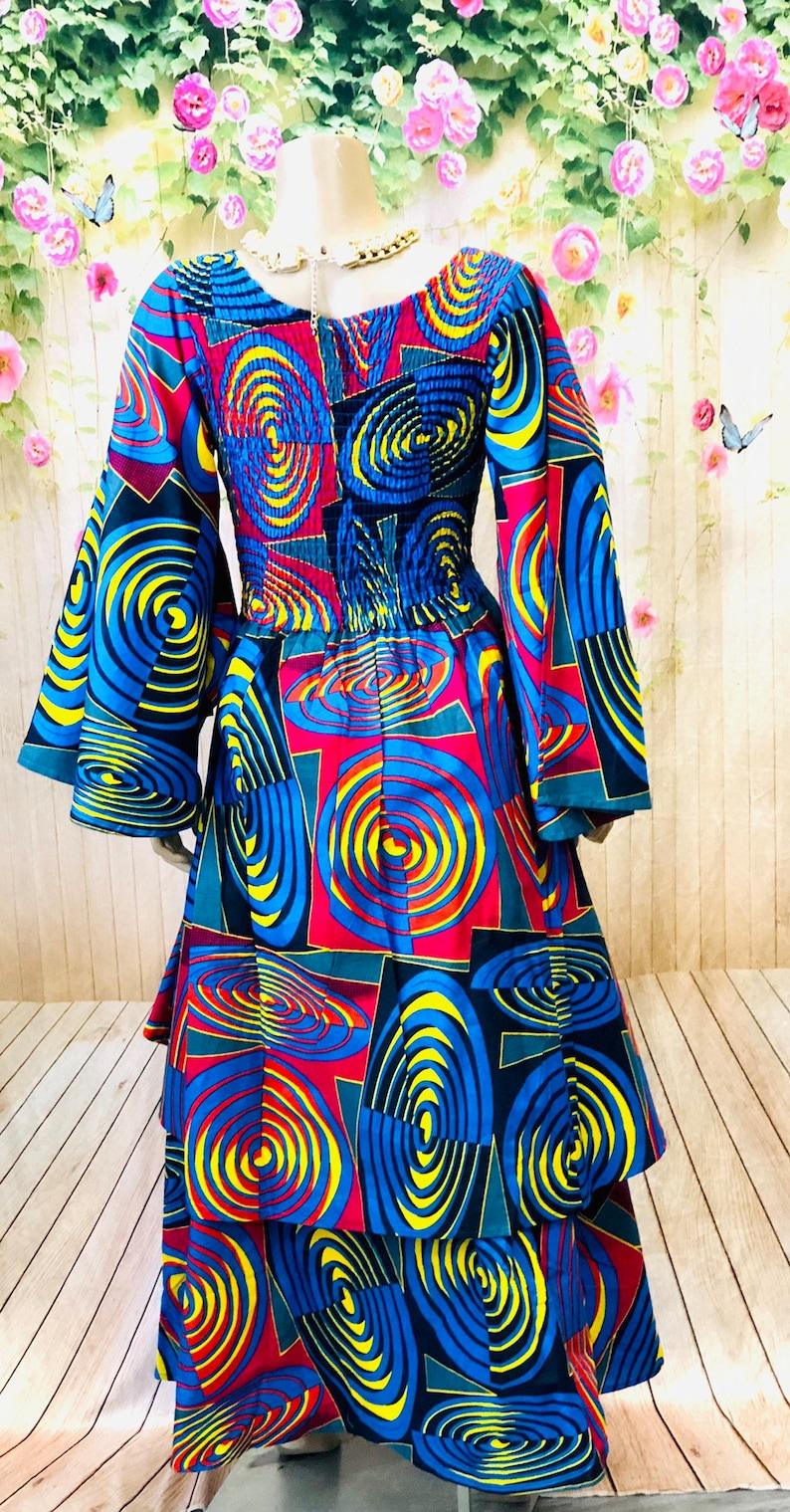 Flared Sleeves Hi-low Ankara Dress
