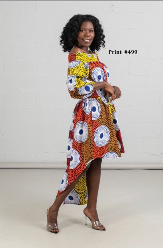 Authentic African Print High-low Off-shoulder Dress