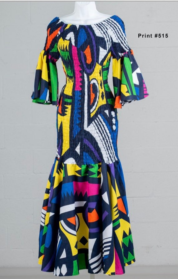 Ankara Off the Shoulder Elastic Fitted Dress with Flared Sleeves and Head Wrap