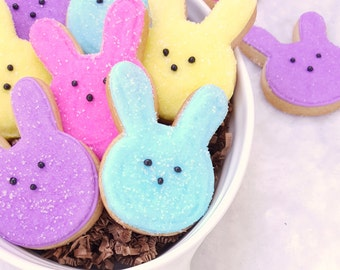 Easter Rabbit Peeps Sugar Cookies