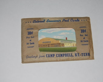 Camp Campbell Army Photo Postcards 1940's