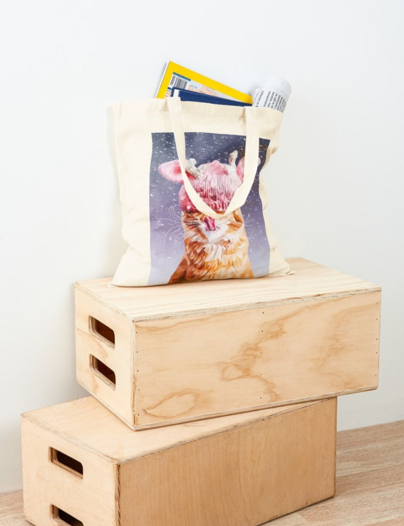 Winter Cat Tote Bag  Cottonbag