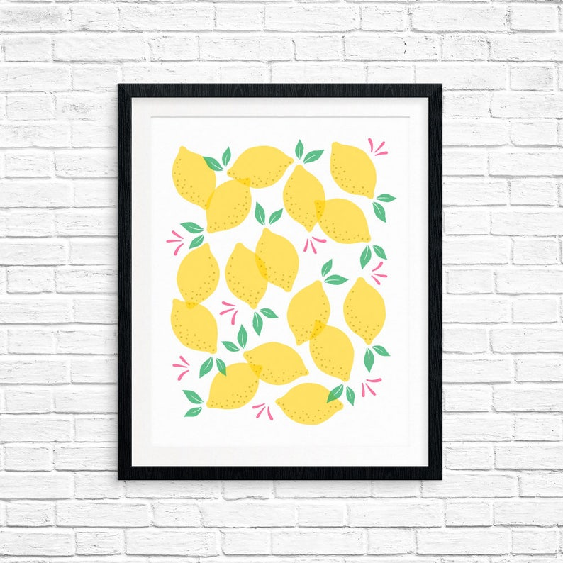 Printable Art Lemons Pattern Modern Art Minimalist Art image 0