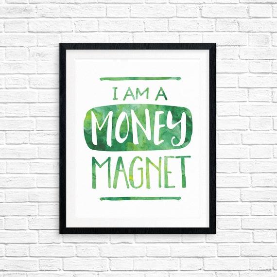 Druckbare Kunst Affirmation ich bin ein Geld Magnet | Etsy