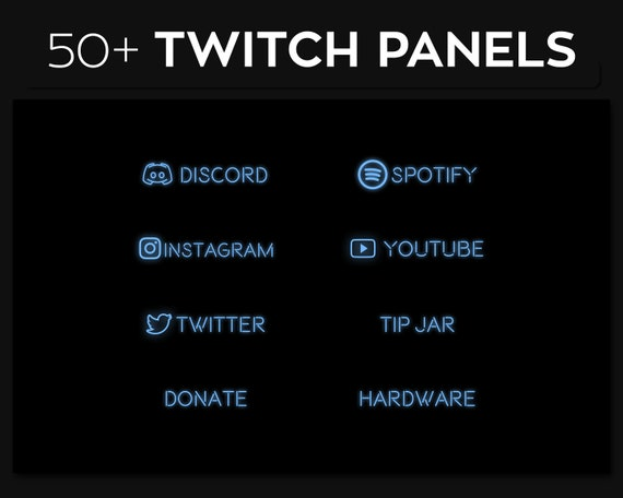 Neon Twitch Panels Streaming Twitch Panel Package Twitch PNG Panels Set Bundle